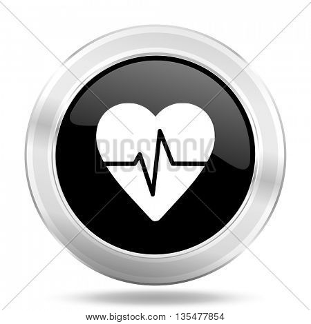 pulse black icon, metallic design internet button, web and mobile app illustration