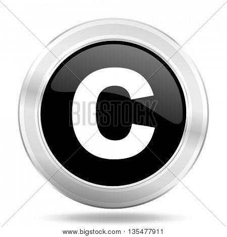 copyright black icon, metallic design internet button, web and mobile app illustration