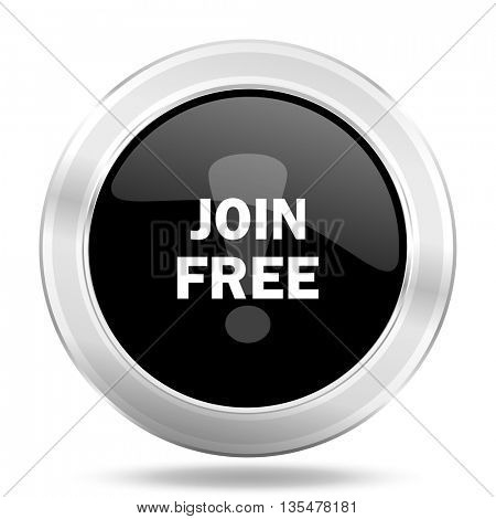 join free black icon, metallic design internet button, web and mobile app illustration