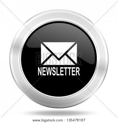 newsletter black icon, metallic design internet button, web and mobile app illustration