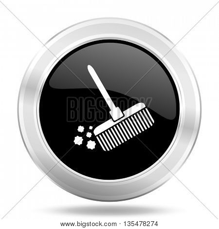 broom black icon, metallic design internet button, web and mobile app illustration