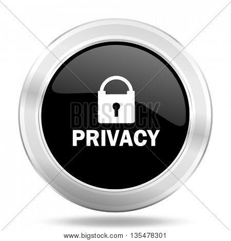 privacy black icon, metallic design internet button, web and mobile app illustration