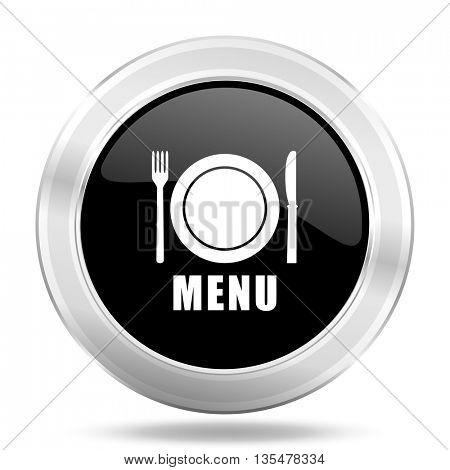 menu black icon, metallic design internet button, web and mobile app illustration