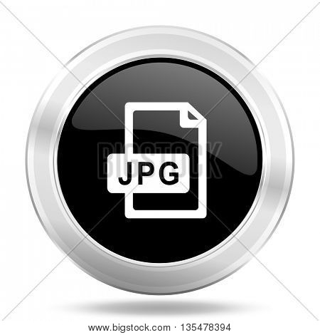 jpg file black icon, metallic design internet button, web and mobile app illustration