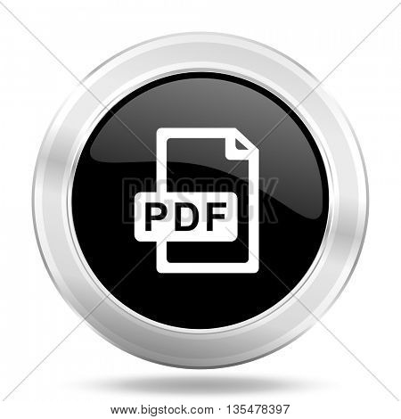 pdf file black icon, metallic design internet button, web and mobile app illustration