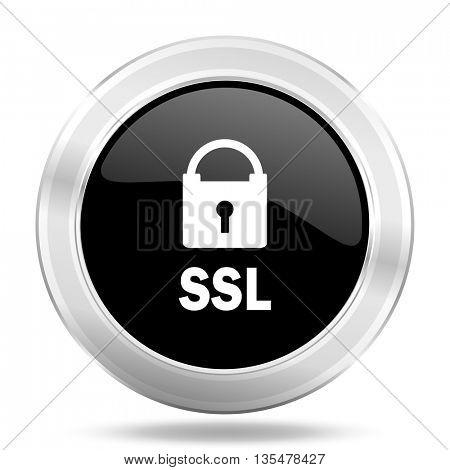 ssl black icon, metallic design internet button, web and mobile app illustration