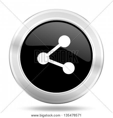 share black icon, metallic design internet button, web and mobile app illustration