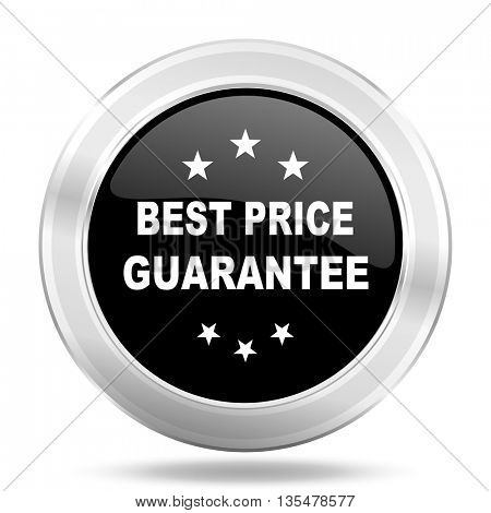 best price guarantee black icon, metallic design internet button, web and mobile app illustration