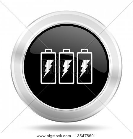 battery black icon, metallic design internet button, web and mobile app illustration