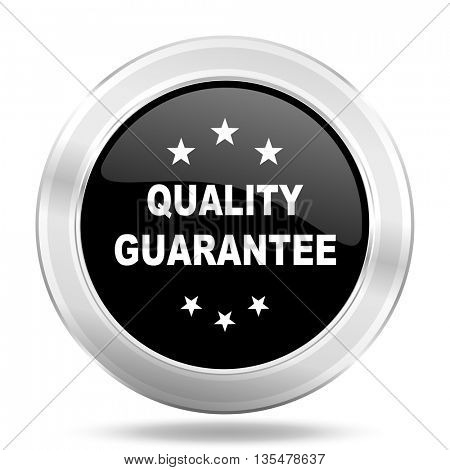 quality guarantee black icon, metallic design internet button, web and mobile app illustration