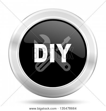 diy black icon, metallic design internet button, web and mobile app illustration