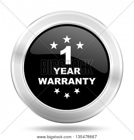 warranty guarantee 1 year black icon, metallic design internet button, web and mobile app illustration