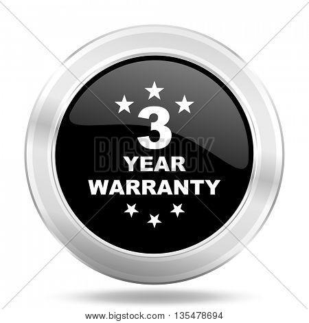 warranty guarantee 3 year black icon, metallic design internet button, web and mobile app illustration