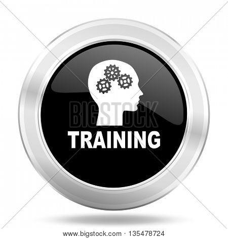 training black icon, metallic design internet button, web and mobile app illustration