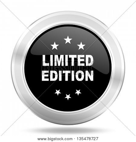 limited edition black icon, metallic design internet button, web and mobile app illustration