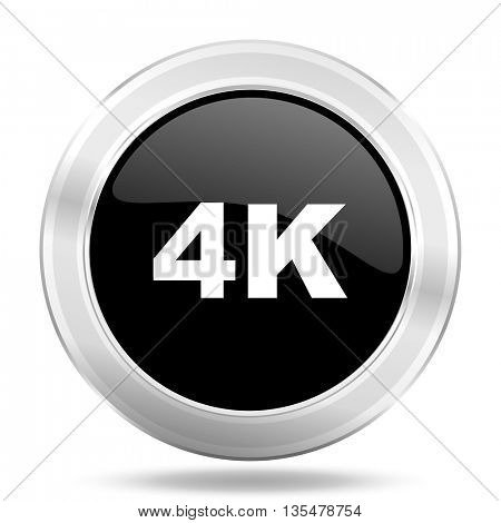 4k black icon, metallic design internet button, web and mobile app illustration