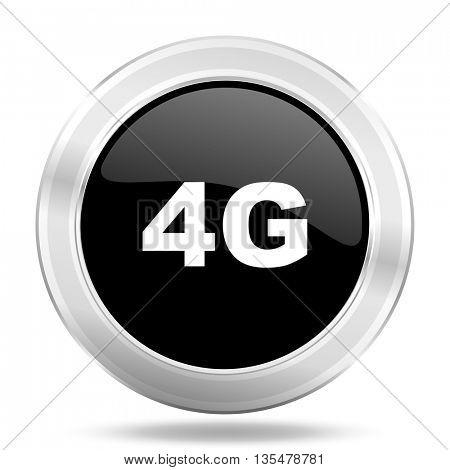 4g black icon, metallic design internet button, web and mobile app illustration