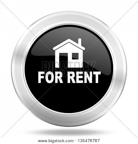 for rent black icon, metallic design internet button, web and mobile app illustration