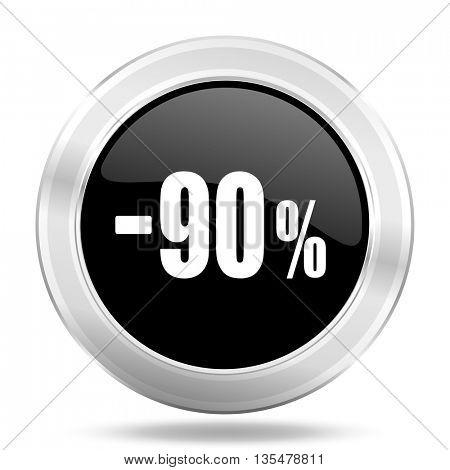 90 percent sale retail black icon, metallic design internet button, web and mobile app illustration
