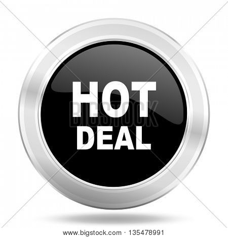 hot deal black icon, metallic design internet button, web and mobile app illustration