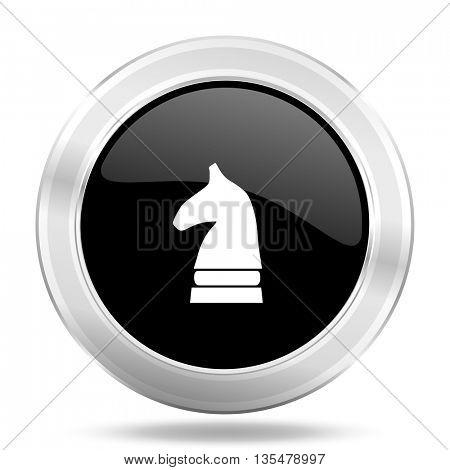 chess horse black icon, metallic design internet button, web and mobile app illustration