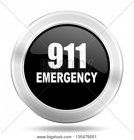 number emergency 911 black icon, metallic design internet button, web and mobile app illustration