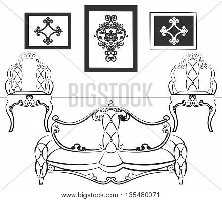 Elegant Interior set with leather furniture ornamented in neoclassic style. Vector