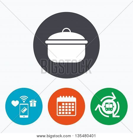 Cooking pan sign icon. Boil or stew food symbol. Mobile payments, calendar and wifi icons. Bus shuttle.
