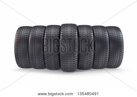 Wheels isolated on white background with shadow 3d illustration.