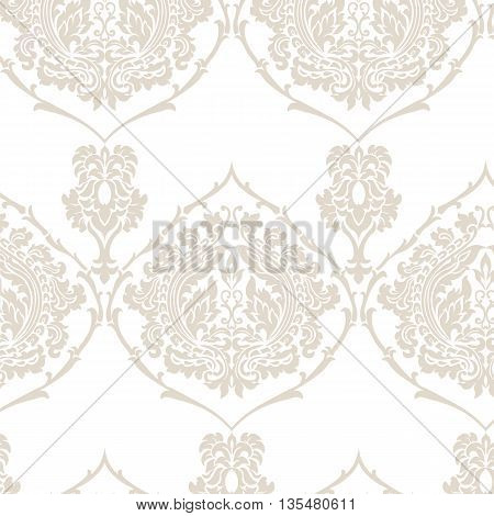 Damask Royal ornament pattern in English vintage Victorian style. Luxury texture for fabric textile design wedding invitations greeting cards background. Golden Beige colors. Vector