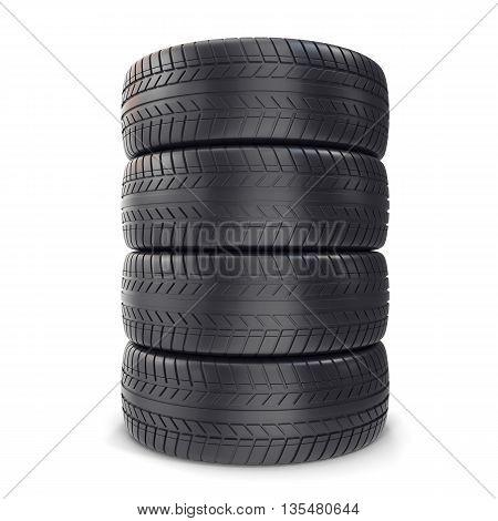 Pile Car wheels on white background 3d illustration