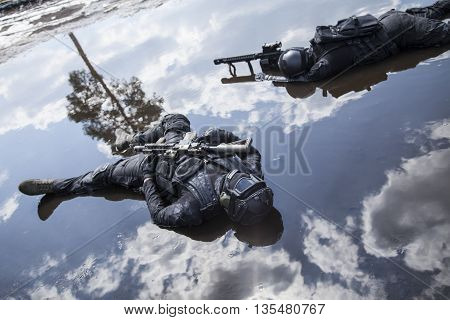Simulated dead bodies of special forces operators killed during a special operation