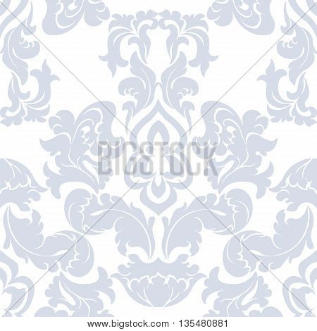 Vector floral damask pattern background. Luxury classic floral damask ornament royal Victorian vintage texture for textile fabric. Delicate floral baroque element. Blue color