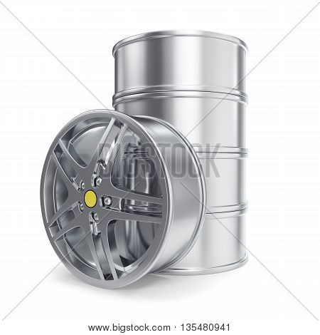 Stack Car Alloy Rim isolated on white background 3d illustration