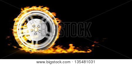 Red Burning wheel on black bacgkround 3d illustration