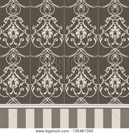 Vector floral damask ornament pattern. Molding Border and stripes. Elegant luxury texture for textile fabrics or backgrounds.