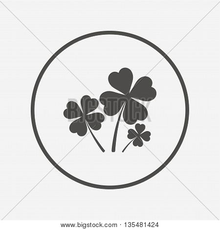 Clovers with four leaves sign. St Patrick symbol Flat clovers icon. Simple design clovers symbol. Clovers graphic element. Round button with flat clovers icon. Vector