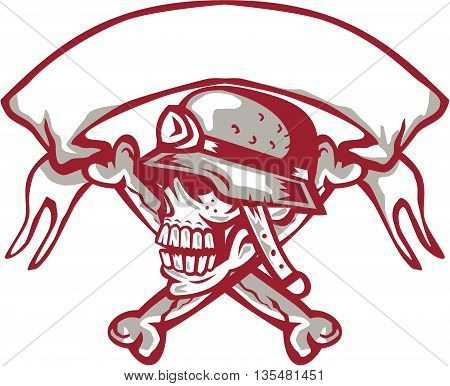 Illustration of a skull looking to the side wearing bike helmet with crossed bones at the back and ribbon on top set on isolated white background done in retro style.