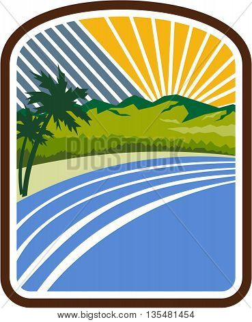 Illustration of tropical trees mountains and sea coast set inside rectangle shape with sunburst in the background done in retro style.