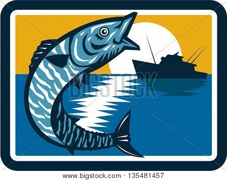 Illustration of a wahoo Acanthocybium solandri a scombrid fish jumping up with sea and fishing boat in the background set inside square shape done in retro style.