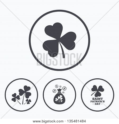 Saint Patrick day icons. Money bag with clover and coins sign. Trefoil shamrock clover. Symbol of good luck. Icons in circles.