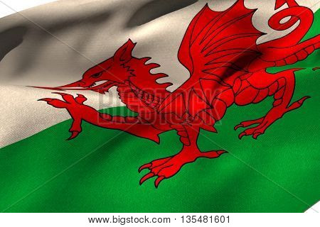 Cropped Wales flag against white background