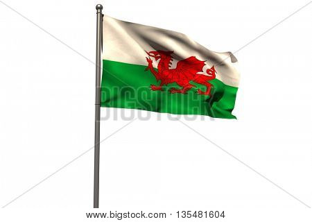Pole with waving flag of Wales against white background