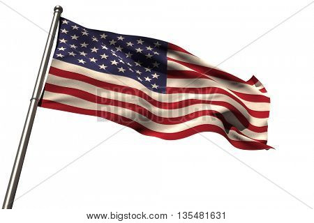 Low angle view of American flag against white background