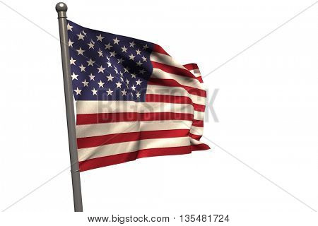 American flag on metal pole against white background