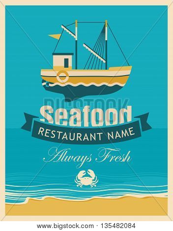 Retro banner for a restaurant or seafood store with fishing boats and crab against the background seascape with beach