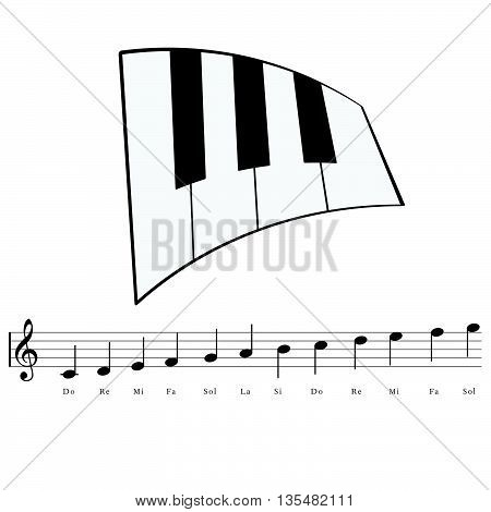 Piano With Music Notes Icon Illustration