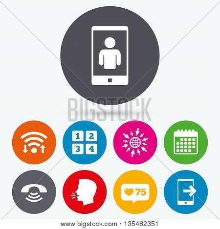 Wifi, like counter and calendar icons. Phone icons. Smartphone video call sign. Call center support symbol. Cellphone keyboard symbol. Human talk, go to web.