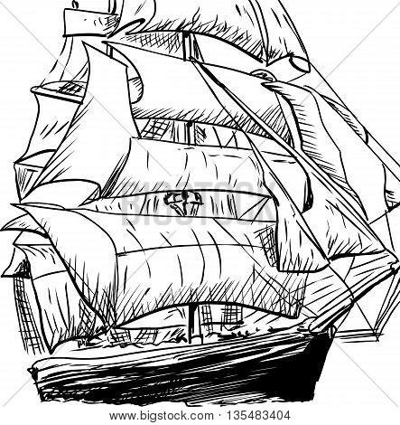 Single Clipper Ship Doodle
