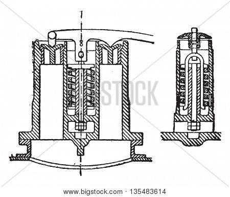 Ramsbottom Webb valve system safety, vintage engraved illustration. Industrial encyclopedia E.-O. Lami - 1875.